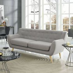 Modway Remark Mid-Century Modern Sofa With Upholstered Fabric In Light Gray Sofa Furniture, Living Room Furniture, Modern Furniture, Furniture Design, Furniture Dolly, Metal Furniture, Cheap Furniture, Discount Furniture, Pallet Furniture