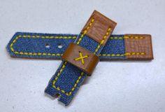 22mm orange blue handmade leather watch strap Officine Panerai, Seiko watches