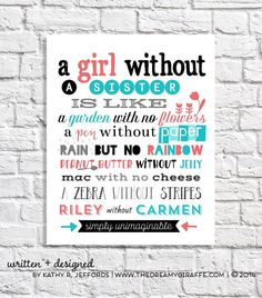 Personalized Sister Quote Print Big Little Birthday Gift Bridesmaid Maid Of Honor Poem Girls Wall Art