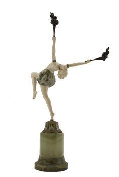 Johann Philipp Ferdinand Preiss German (1882-1943) Torch Dancer ivory, bronze, onyx circa 1920, stamped height: 17 in. (43 cm) SOLD FOR $23,000 (September 2013)