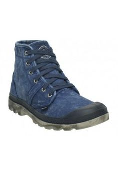 Palladium Pallabrouse navy blue and metal canvas boots