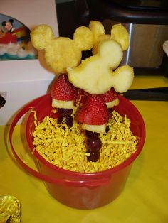 Mickey Mouse Fruit Kabobs are a fun and easy way to include healthy food on a menu for a kids' birthday party.