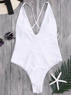 SHARE & Get it FREE | High Cut Cross Back Swimwear - White SFor Fashion Lovers only:80,000+ Items • New Arrivals Daily Join Zaful: Get YOUR $50 NOW!