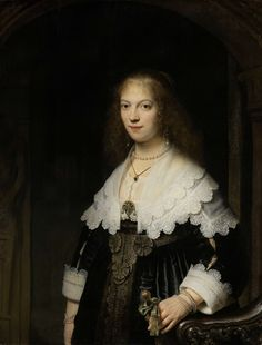 Portrait of a Woman (possibly Maria Trip) by Rembrandt Harmensz. van Rijn, 1639. Oil on panel, h 107 cm × w 82 cm.