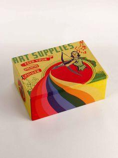 Art Supplies Tin Cigar Box, Blue Q