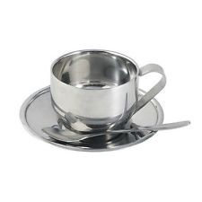 New Stainless Steel Coffee Mug Cup With saucer and spoon Home dinnerware Sets