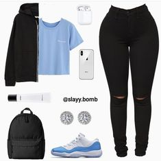 crop top outfits with ripped jeans Swag Outfits For Girls, Boujee Outfits, Cute Comfy Outfits, Teenage Girl Outfits, Cute Outfits For School, Cute Casual Outfits, Teen Fashion Outfits, Dope Outfits, Swag Girls