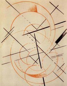 Liubov Popova, Untitled - Architectonic Composition, 1921, oil pastel on paper.