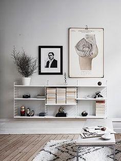Decorate your home in a Scandinavian interior design style. Scandinavian Shelves, Scandinavian Interior Design, Scandinavian Home, Home Living Room, Living Room Decor, String Shelf, Grey Walls, Eyelashes, Eyebrows