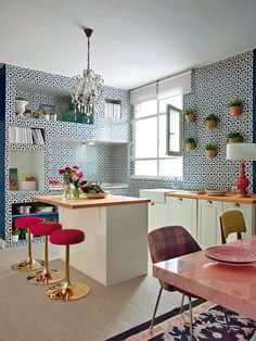Madrid Apartment by Living Pink / Crazy dynamic tiles / Adorable alcoves / Tartan chair / Pink marbled table top