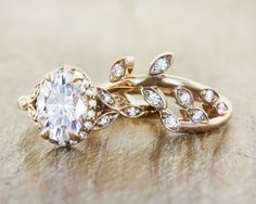 Unique engagement rings in rose gold by Ken & dana Design