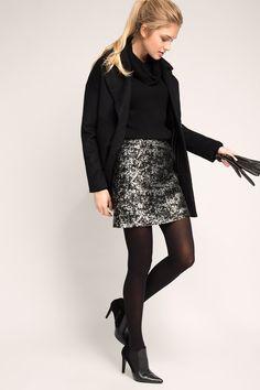 Esprit - Metallisch glänzender Jacquard-Minirock im Online Shop kaufen