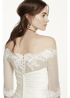 Off the Shoulder Tulle Topper with Lace Appliques MK146