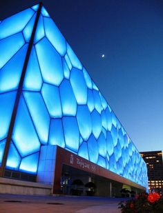 """The Watercube- Beijing's National Aquatics Center ,   """"The Watercube,"""" Beijing's National Aquatics Center, built for the 2008 Olympics. Its design derives the shape from the make-up of soap bubb..."""
