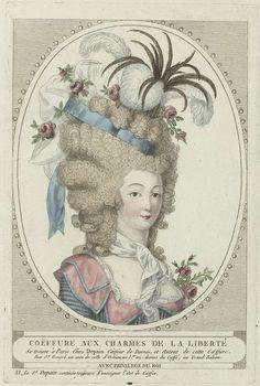 Coiffures, poufs, hoeden en mutsen: Twee coiffures van kapper Depain, anoniem, Depain, ca. 1790