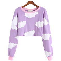 Cloud Print Crop Sweatshirt ($25) ❤ liked on Polyvore featuring tops, hoodies, sweatshirts, purple, long sleeve crop top, pullover sweatshirts, long sleeve tops, sweatshirt crop top and purple sweatshirt
