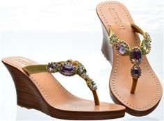 These are so beautiful! Beaded Sandals, Strap Sandals, Wedge Sandals, Leather Sandals, Shoes Sandals, Mystique Sandals, Fancy Jewellery, Wedge Flip Flops, Gold Earrings Designs