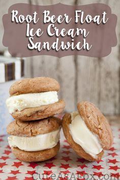 Root Beer Float Ice Cream Sandwich with Dreyer's Frozen Custard #spon