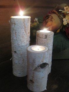 Birch Bark Log Tea Light Candle Holder12108 by BirchHouseMarket, $29.95