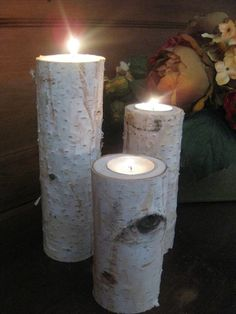 3 Large Birch Bark Log Tea Light Candle by FloralAccents on Etsy, $24.00