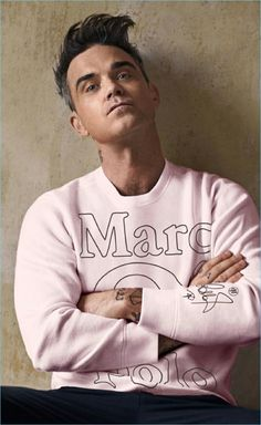Marc O'Polo taps singer Robbie Williams to help celebrates its fiftieth anniversary. Robbie, along with his wife Ayda design special sweatshirts with personal… Base And Superstructure, Robbie Williams Take That, Rob Base, Ukraine, Buy Jeans, Marc O Polo, Greatest Songs, Couture, Music Bands
