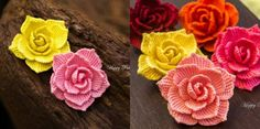 Crochet roses are that extra detail that makes any beautiful craft delicate and interesting. Diy Crochet Flowers, Diy Crochet Patterns, Crochet Flower Tutorial, Crochet Things, Paper Flowers Craft, Flower Crafts, Crochet Converse, Sunflower Colors, Rose Video
