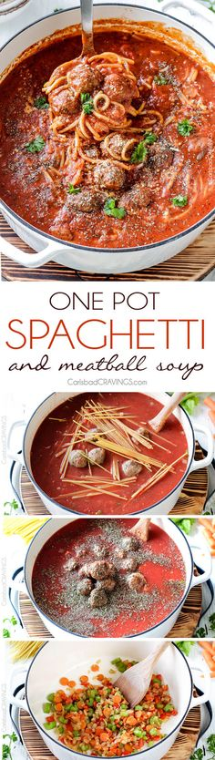 Easy One Pot Spaghetti and Meatball Soup tastes like your favorite spaghetti but is even more slurp-worthy crazy delicious! Use store bought meatballs or these incredibly moist Parmesan meatballs for a one pot meal the whole family will go crazy for! via @carlsbadcraving
