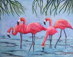 Pink Flamingo Tropical Seashore Bird Original by BarbaraRosenzweig, $150.00