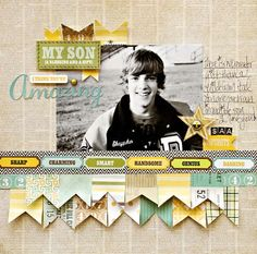awesome masculine layout by Leslie Ashe