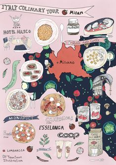 Italy Culinary Tour Milan Illustrated Food Map Food and travel illustration By Yaansoon Illustration Art Regional Italian Food Map Italy Illustration, Travel Illustration, Digital Illustration, Jan Van Eyck, Georges Braque, Travel Maps, Travel Posters, Travel Destinations, Travel Book Layout