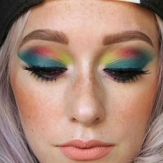 OMG look at this eye look by jkissa .. i zoomed it in so you can see the eyes.. i am in love with look.. i am gunna try to do it tommorow. I LOVE COLORFUL EYE LOOKS AND THIS GIRL DOES THE BEST COLORFUL LOOKS @Regrann from @jkissamakeup -  Preview of an upcoming tutorial!  Noble by @katvondbeauty on lips. #Regrann