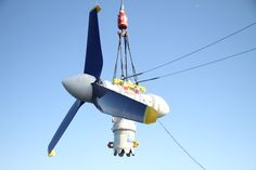 The latest innovation in renewable energy is an army of huge, sunken turbines in Scotland's wild seas. Photo shows a previous version of MeyGen's turbine. Renewable Energy, Solar Panels, Scotland, Innovation, Army, Seas, Outdoor Decor, Twitter, Sun Panels