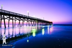 Beach Photography Print, Beach House Decor, Ocean Sunrise, Pier Photos, Surfside Beach, Coastal Wall Art, South Carolina Beach, Purple, Pink by Bear8Photo on Etsy