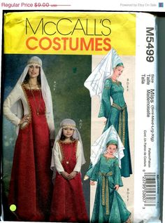 On Sale McCall's 5549 Medieval Damsel Costume Sewing Pattern Women's S-XL or Girl's 3-8 UNCUT. $7.20, via Etsy.