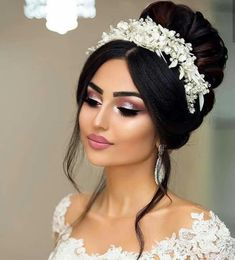 Pin by on Fabulous Bridal Hair, Makeup, and Accessories in 2019 Bridal Hair Buns, Bride Makeup, Wedding Hair And Makeup, Hair Makeup, Wedding Makeup For Brown Eyes, Natural Wedding Makeup, Quince Hairstyles, Bride Hairstyles, Bridal Hair Inspiration