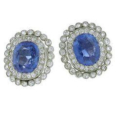 Antique Non Heat Ceylon Sapphire Diamond Platinum Earrings