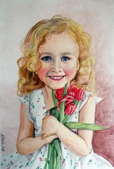A girl with tulips. Watercolor painting 30x40 cm, paper 250 g
