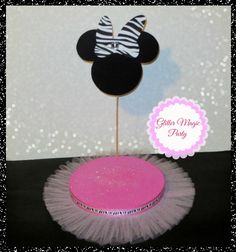 Minnie Mouse Zebra - Lollipops or Cakepops Stand - Minnie Mouse Party - Minnie Mouse Zebra Bow