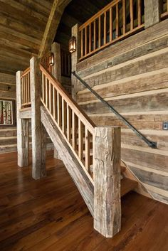 12 Amazing Rustic Wooden Stairways Design Ideas for Classic Home - Rustic Staircase, Wood Stairs, Modern Staircase, House Stairs, Staircase Design, Staircase Ideas, Sia Chandelier, Timber Stair, Rustic Loft