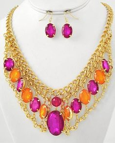 """CHUNKY FUCHSIA AND ORANGE ACRYLIC GOLD TONE METAL NECKLACE SET    * If you need a necklace extender I have them for sale in my store.*        NECKLACE: 16"""" LONG + 3"""" EXT         HOOK EARRINGS: 1"""" LONG    CHARM: 2 1/2"""" LONG             COLOR: GOLD TONE  $21.99"""