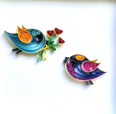 Items similar to Love Birds - Quilled Paper Art - Paper Wall Art - Home Decor - Wall Decor - Quilled Art - Valentine Birds - Love Birds Wall Art. on Etsy Quilling Animals, Quilled Paper Art, Paper Quilling Designs, Quilling Craft, Quilling Patterns, Paper Wall Art, Bird Wall Art, Paper Artwork, Valentines Bricolage
