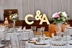 Marquee letters...gold and pink decor!