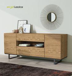 Egelasta · Mueble · Moderno  · Madera · Mobiliario de hogar · Catálogo New Live · Día · Comedor · Aparador con patas de metal · Roble viejo