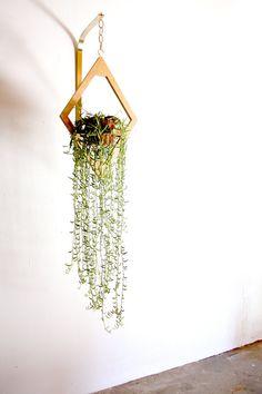 Geometric Hanging Planter // Modern Brass & Wood by weareMFEO
