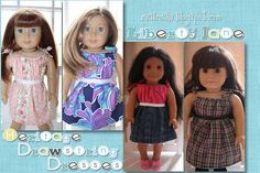 "Sewing Drawstring Dresses for 18"" dolls."