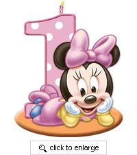 Minnie's First Birthday Molded Party Candle is the perfect adornment for your little one's birthday cake or cupcakes.
