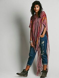 Highs and Lows Poncho | Oversized pullover embroidered poncho with a drastic Hi-Lo. Fringe detailing.   *By Free People