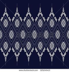 Geometric Ethnic  pattern on dark blue design for background or wallpaper.