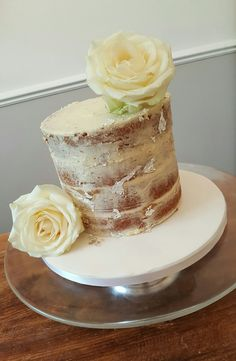 Silver leaf semi naked cake with rose