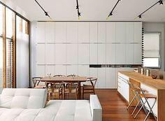wall of ikea kitchen cabinets
